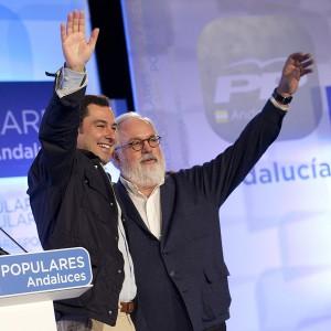 MIguel Arias Cañete junto al presidente del Partido Popular de Andalucía, Juanma Moreno.